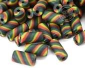 Rasta Beads, 50pcs, 12 x 6mm  Rasta Colors, Fimo Tube Beads, Polymer Clay, Spacer Beads, Beads for Hemp - B17