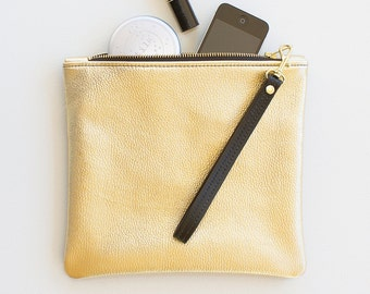 Gold Leather Fold Over Clutch, Metallic Gold Fold Over Wristlet, Everyday Wristlet, Evening Clutch, Gold Wedding Clutch, Gold Bridal Clutch