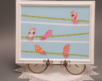 Shabby Chic Birds on a Wire, Fiber Art, Upcycled distressed Frame, Birds thread painted, Art