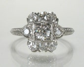 Antique Old European Cut Diamond Engagement Ring - 0.82 Carats - Appraisal Included