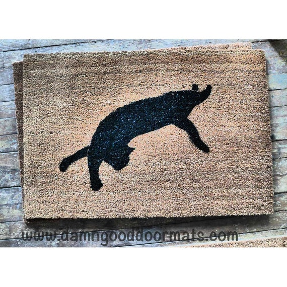 Black cat silhouette Halloween doormat stretching door mat