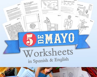 Mexico's Cinco de Mayo worksheets in Spanish and English. Instantly download 10 PDF classroom and homeschool activities by Happythought.