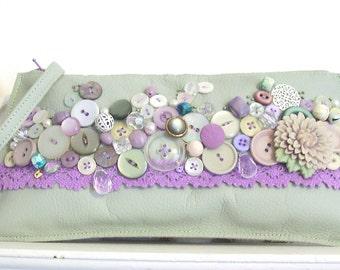 Mint green bag, embellished wristlet, lace wristlet, statement clutch