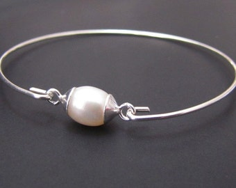 Pearl Bangle Bracelet, Sterling Silver Bracelet, Jewelry, Friendship Bracelet, Gift