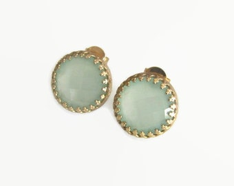 Gold Plated Earrings, Aqua Chalcedony Earrings, Crown Earrings, Studs, Stud Earrings, Gemstone Earrings, Jewelry Gift