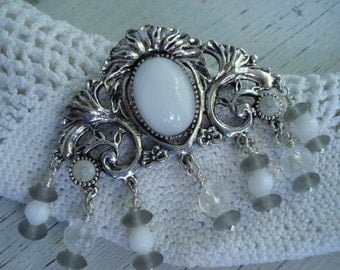Vintage Victorian Antiqued Silver White Opal Moonstone Glass Antique Frosted Grey and White AB Beads Brooch Pin