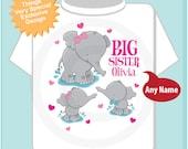 Elephant Big Sister Shirt with twins 1 boy 1 girl, Big Sister Elephant Tee Shirt or Big Sister Onesie Pregnancy Announcement (05012014c)