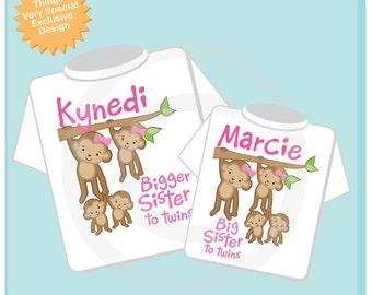Girl's Set of Two, Bigger Sister of Twins and Big Sister of Twins Tee shirts or Onesies, Pregnancy Announcemnt, Baby Shower Gift (04022014b)