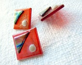 Seeing Red! Fused Glass Buttons, Art Button, iridescent, purple, blue, green, ivory, dichroic, sewing button, knitting supplies, square