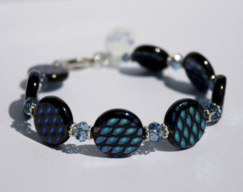 Czech Glass Bracelet Iridescent Peacock Colors of Geometric Shapes on Flat Disk Beads Swarovski Crystals Sterling Silver For Her 8 Inches