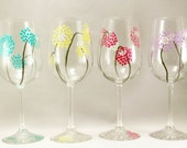 Colorful modern flowers, whimsical pastel flowers - set of 4 hand painted wine glasses