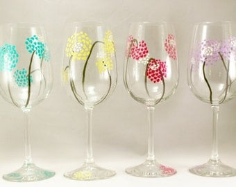 Colorful modern flowers - hand painted wine glasses - whimsical pastel flowers - gift for her - set of 4