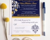 Wedding Invitations Navy and Yellow, Modern wedding invites