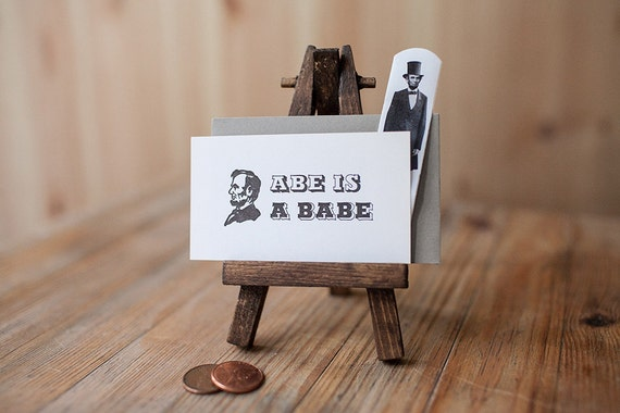 Abe is a Babe - Letterpress Mini Card