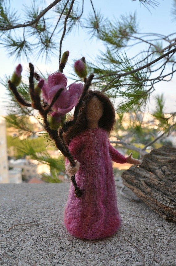 Needle felted Waldorf Plum maiden- soft sculpture -needle felt by Daria Lvovsky
