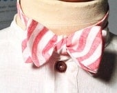 Candy Cane Stripe Linen Adjustable Butterfly Bow Tie