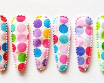 30 pcs -  Mix color Retro dot Cotton Hair Clip COVERS  -  size 55 mm