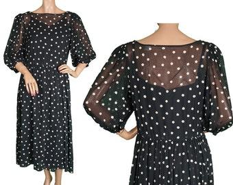 Vintage 1980s Cotton Dress - Black & White Polka Dot