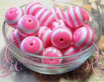20mm Neon Pink and White Striped Beads Qty 10