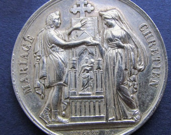 Antique French Sterling Silver Marriage Religious Medal Signed Pingret Dated 1914 SS435