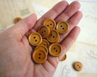 Three Quarter Inch Wooden Buttons Round - Coffee coloured - Pack of 5