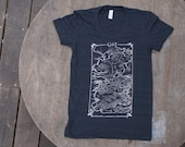 Game of Thrones T-Shirt  Map of Westeros Tee on American Apparel Black Tri Track Tee for Women