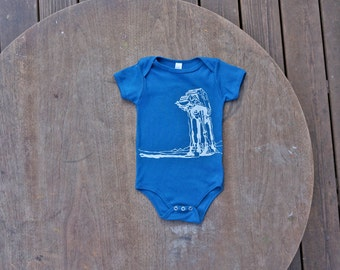 Star Wars AtAt Walker American Apparel Organic baby Onesie in Galaxy Blue