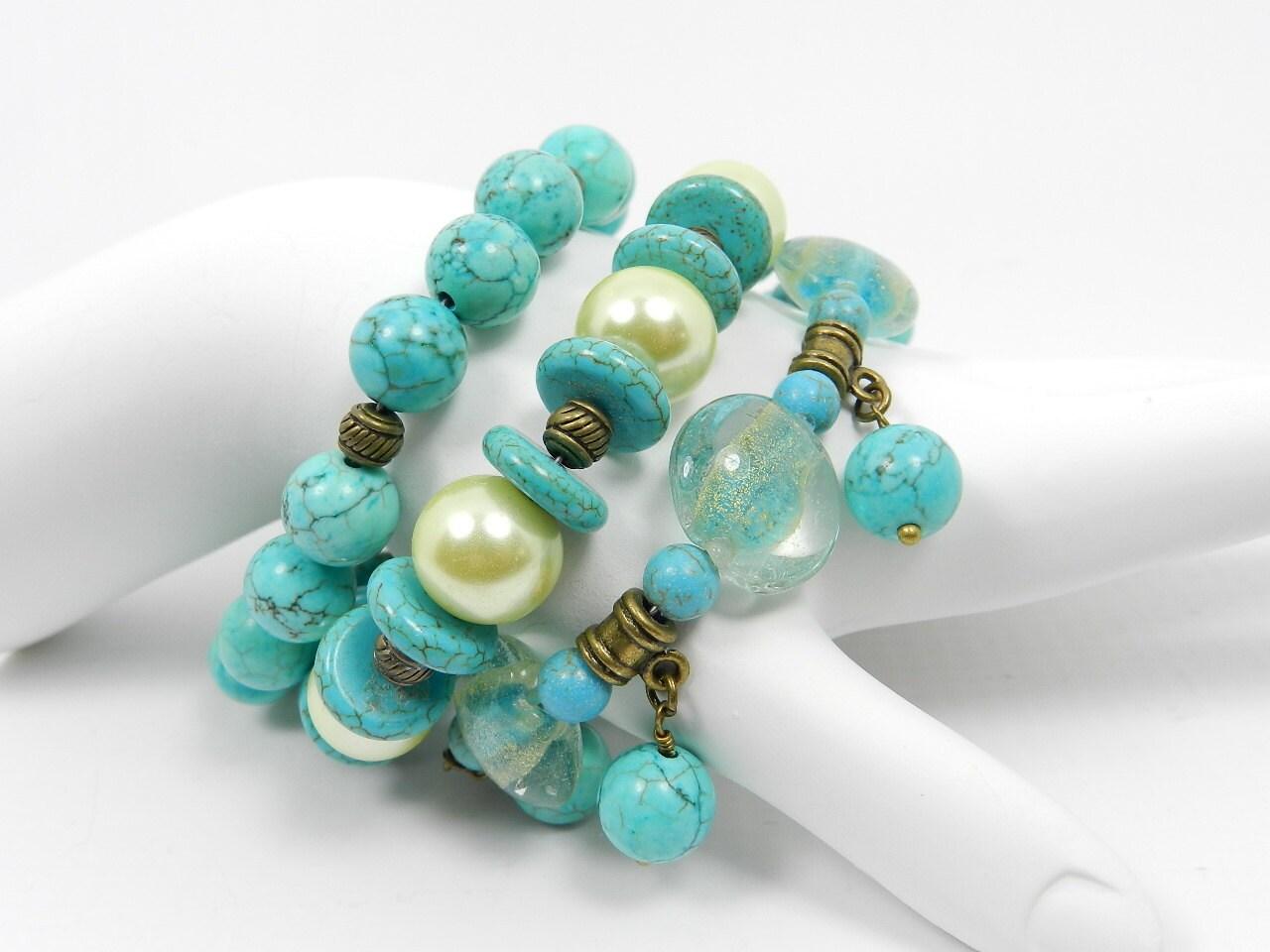 Turquoise Bracelet Stacked Bracelet Stack of by BeadzNBling