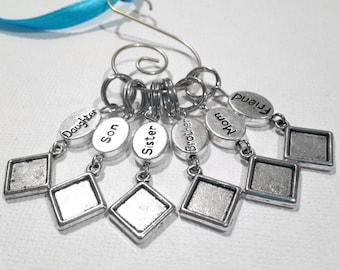 Mini Custom Memorial Photo Charm, Wedding Bouquet Accessory, Mini Square Micro Charm, Includes Printing Service