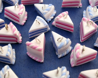 Miniature Food Jewelry Blue or Pink Cake Charms x 4