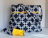 Monterey Diaper Bag Set - Large - In Navy Gotcha Gridlock and Yellow - Adjustable Strap and Elastic Pockets - Choose Lining Color