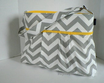 Monterey Chevron Diaper Bag - Medium - In Grey Chevron and Yellow - Adjustable Strap and Elastic Pockets