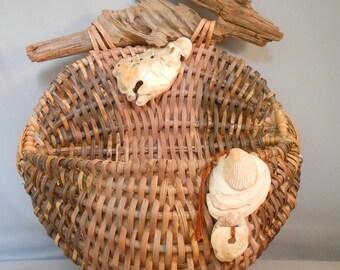 Nautical Wall Basket with Driftwood Beach Decor Driftwood Art