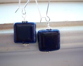 Stone Earrings - Earthy Earrings - Blue Earrings