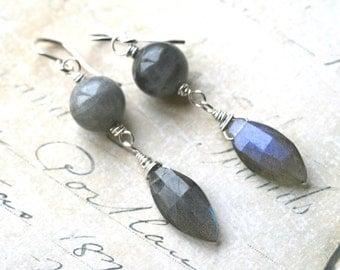 Labradorite Earrings Dangle faceted gemstones