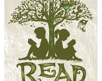 Reading Tree - 16x20 Art Print, Every Book An Adventure