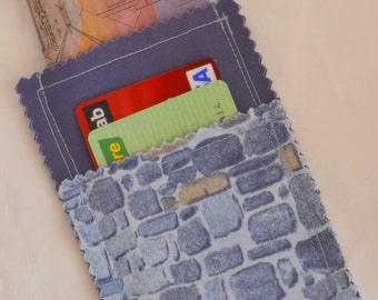 Closeout SALE Slate Blue & Brown COBBLESTONES 3 Pocket Wallet Business Card Case Card Cash Wallet