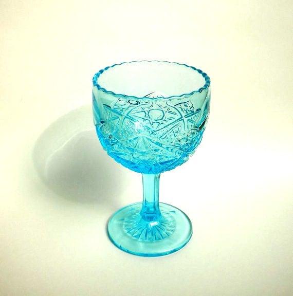 LARGE Vintage Aqua Glass Diamond Star Footed Compote