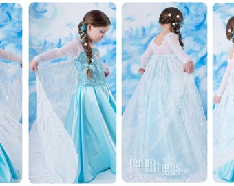 Frozen Elsa costume inspired dress 5/ 6 satin style skirt