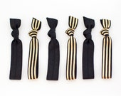 The Allure Package - 6 Elastic Black Gold Foil Stripe Dot Hair Ties that Double as Bracelets by Mane Message on Etsy