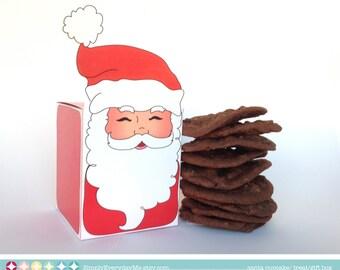 Santa Printable Cupcake, Treat, Gift, Gift Card Box - Christmas party favor box - DIY Printable PDF kit - Instant download