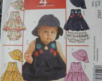 McCalls M5567 Infants Tops, Panties, Skorts and Hat in Sizes Newborn-Large (uncut)