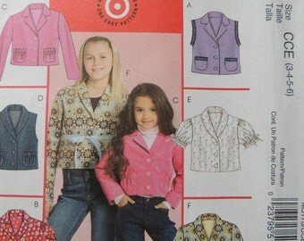 McCalls M5170 Children's and girl's Unlined Vests and Jackets (uncut) sizes 3-4-5-6