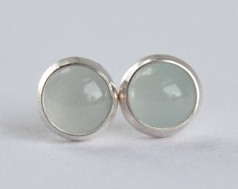 milky aquamarine 5mm sterling silver stud earrings