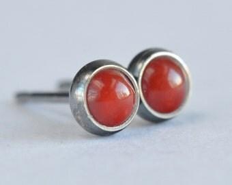 red coral 4mm sterling silver stud earrings pair