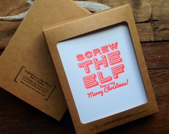 HOL-143-6 Set of Six - Screw the Elf Holiday letterpress cards