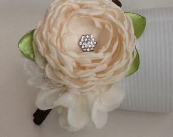 Soft cream flowers headband