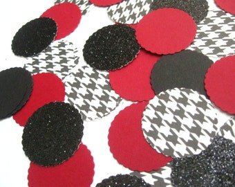 "Confetti Celebration packet of 1"" paper circles-Crimson/Houndstooth/Black Glitter- Parties/Showers/Weddings/Holidays/Table Decor/DIY Garland"