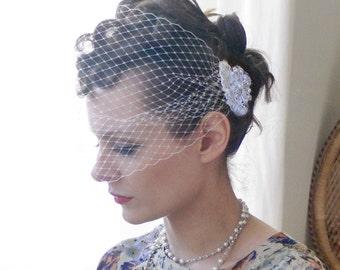 Ivory bandeau veil - wedding veil - Bridal veil.