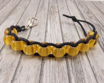 Golf Score or Stroke Counter - Clip - Black Cord with Golden Yellow Beads - Non-Elastic - 10 Beads - Knitting Row Counter